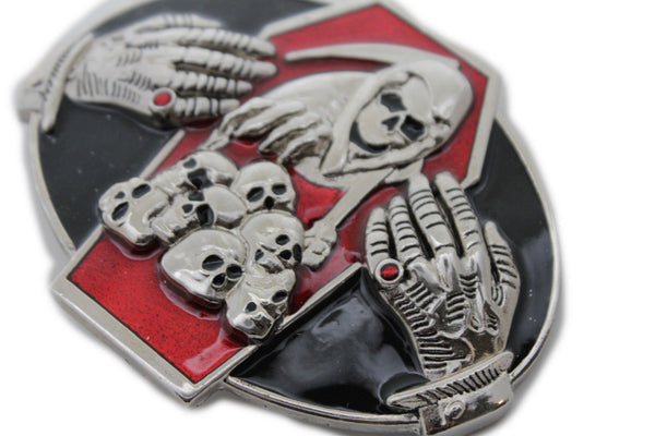 Silver Devil Hands Coffin Skull Skeleton Belt Buckle Halloween Death Men Women Accessories
