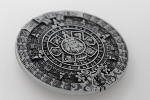 Silver Metal Belt Buckle Antique Aztec Calendar Mayan New Men Women Fashion Accessories