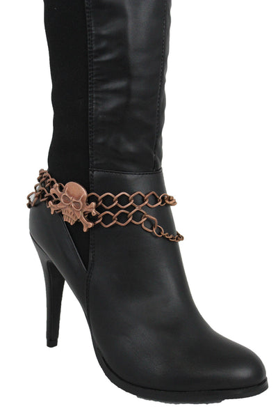 Metal Boot Bracelet Chains Skull Skeleton Bling Anklet Charm Heels New Women Accessories