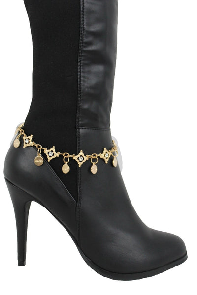 Metal Chain Boot Bracelet Shiny Bling Anklet Happy Charm Rhinestone New Women Accessories