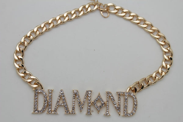 Miami Men Gold Metal Chain Necklace 3D DIAMOND Pendant Gangster Hip Hop Fashion Accessories