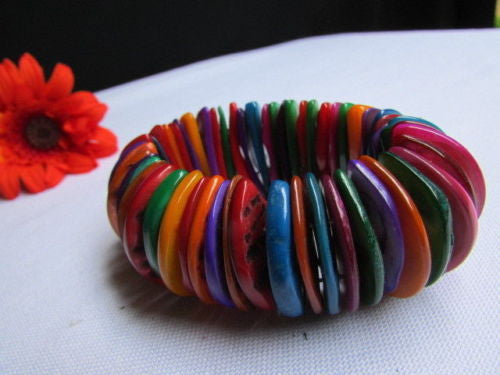 Purple Blue / Multi Colors Wide Bracelet Rings Stone Rainbow Beads Trendy Hawaiin Style New Women Fashion Jewelry Accessories - alwaystyle4you - 15