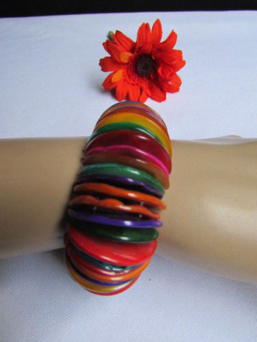 Purple Blue / Multi Colors Wide Bracelet Rings Stone Rainbow Beads Trendy Hawaiin Style New Women Fashion Jewelry Accessories - alwaystyle4you - 16