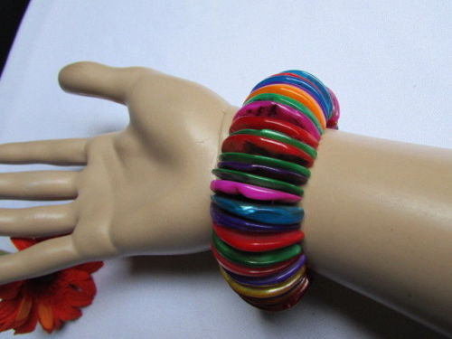 Purple Blue / Multi Colors Wide Bracelet Rings Stone Rainbow Beads Trendy Hawaiin Style New Women Fashion Jewelry Accessories - alwaystyle4you - 1