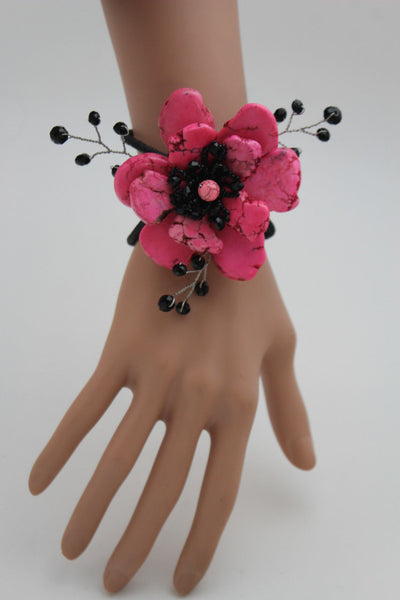 Baby Blue / Pink / Red / White /  + Black Bead Flower Charm Elastic Cuff Bracelet Band New Women Fashion Jewelry Accessories - alwaystyle4you - 13