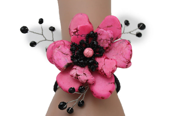 Baby Blue / Pink / Red / White /  + Black Bead Flower Charm Elastic Cuff Bracelet Band New Women Fashion Jewelry Accessories - alwaystyle4you - 2
