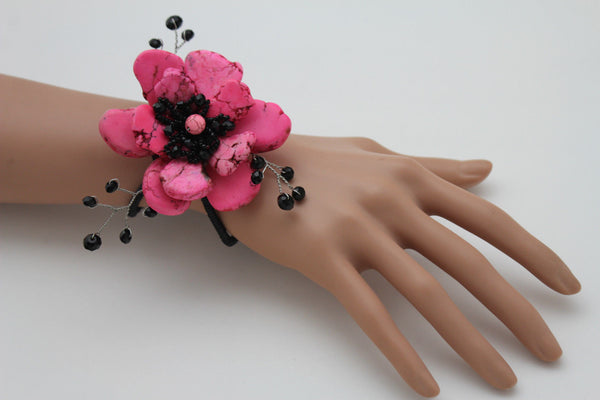 Baby Blue / Pink / Red / White /  + Black Bead Flower Charm Elastic Cuff Bracelet Band New Women Fashion Jewelry Accessories - alwaystyle4you - 5