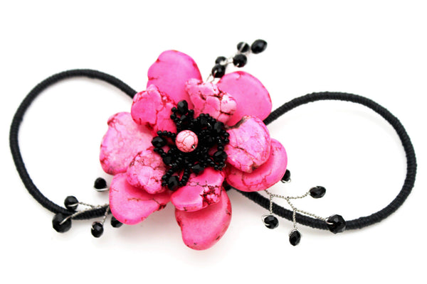 Baby Blue / Pink / Red / White /  + Black Bead Flower Charm Elastic Cuff Bracelet Band New Women Fashion Jewelry Accessories - alwaystyle4you - 6