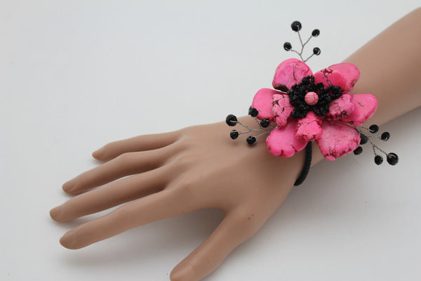 Baby Blue / Pink / Red / White /  + Black Bead Flower Charm Elastic Cuff Bracelet Band New Women Fashion Jewelry Accessories - alwaystyle4you - 8