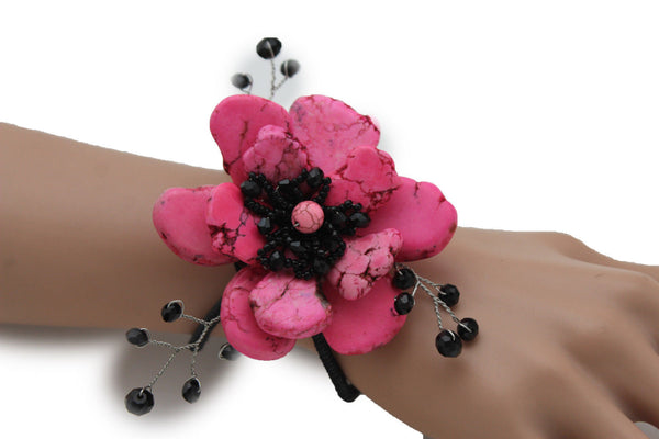 Baby Blue / Pink / Red / White /  + Black Bead Flower Charm Elastic Cuff Bracelet Band New Women Fashion Jewelry Accessories - alwaystyle4you - 10