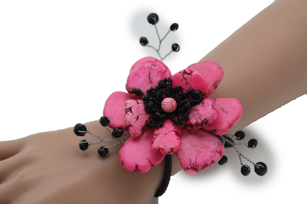 Baby Blue / Pink / Red / White /  + Black Bead Flower Charm Elastic Cuff Bracelet Band New Women Fashion Jewelry Accessories - alwaystyle4you - 12