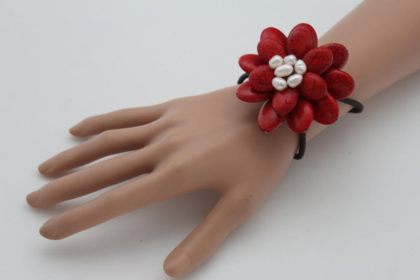 Baby Blue / White + Red / Red + White Cuff Band Bracelet Beads Flower Charm Elastic New Women Fashion Jewelry Accessories - alwaystyle4you - 24