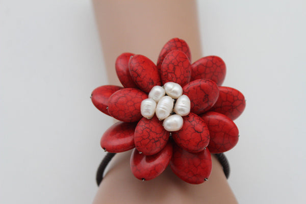 Baby Blue / White + Red / Red + White Cuff Band Bracelet Beads Flower Charm Elastic New Women Fashion Jewelry Accessories - alwaystyle4you - 3