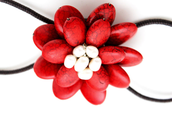 Baby Blue / White + Red / Red + White Cuff Band Bracelet Beads Flower Charm Elastic New Women Fashion Jewelry Accessories - alwaystyle4you - 25