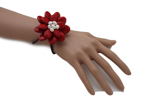 Baby Blue / White + Red / Red + White Cuff Band Bracelet Beads Flower Charm Elastic New Women Fashion Jewelry Accessories - alwaystyle4you - 26