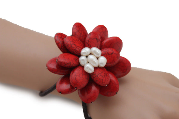 Baby Blue / White + Red / Red + White Cuff Band Bracelet Beads Flower Charm Elastic New Women Fashion Jewelry Accessories - alwaystyle4you - 27