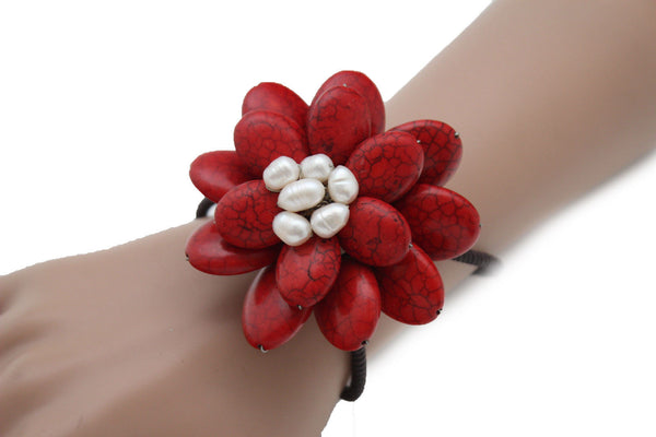 Baby Blue / White + Red / Red + White Cuff Band Bracelet Beads Flower Charm Elastic New Women Fashion Jewelry Accessories - alwaystyle4you - 29