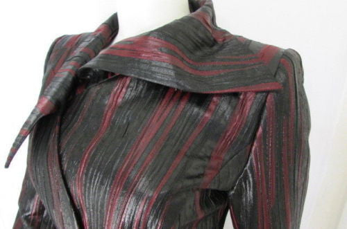 Black Burgundy Long Cocktail Elegant Jacket New Women Authentic Jacques Fath Paris Fashion Size 38