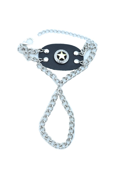 Women Men Bracelet Silver Metal Hand Chain Texas Lone Star Charm Biker Jewelry One Size Fits All