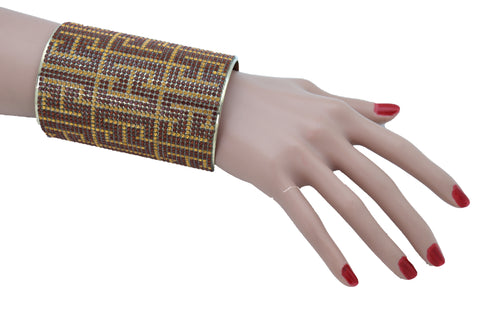 Brand New Women Long Cuff Bracelet Gold Metal Geometric Brown Bling Collection Jewelry