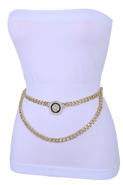 Women Waist Hip Fashion Belt Gold Metal Chain Wave Lion Charm Buckle Fits Plus Size XL XXL