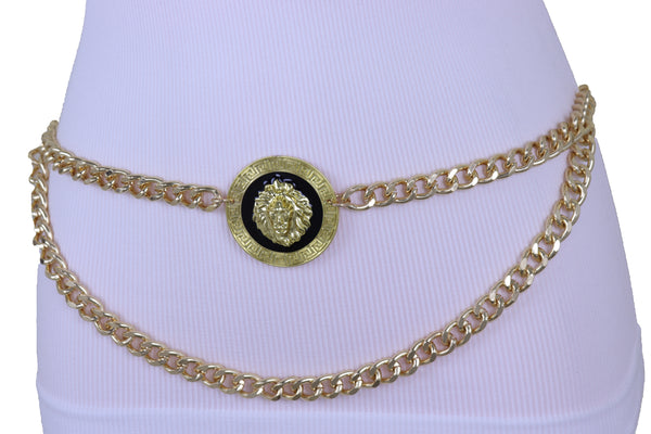 Women Gold Metal Chain Lion Charm Coin Buckle Belt Hip Waist Adjustable Band Plus Size XL XXL