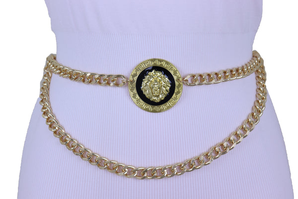 Sexy Women Gold Metal Chain Links Waistband Big Lion Charm Belt Adjustable Band Fit Size M L XL
