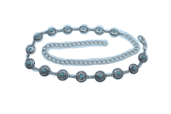 Women Fashion Belt Antique Silver Color Metal Chain Turquoise Blue Beads Flower Fit Size S M L