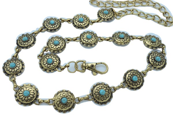 Women Western Fashion Belt Antique Gold Metal Turquoise Flower Charm Fits Sizes S M L