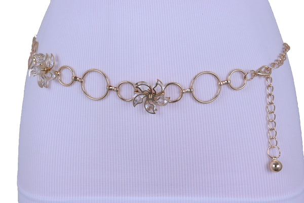 Women Gold Color Metal Chain Skinny Fancy Waistband Bling Flower Charm Belt Fits Size S M L