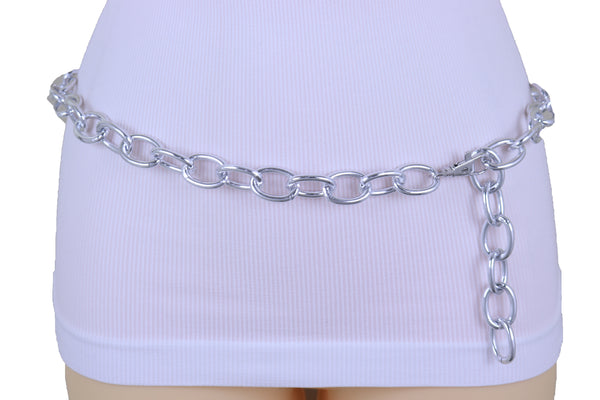 Brand New Women Fashion Belt Silver Metal Chunky Chain Oval Thick Links Plus Size XL XXL