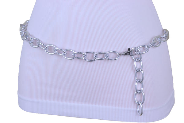 Women Bling Fashion Belt Silver Metal Chain Oval Links Narrow Adjustable Size Waistband M L XL