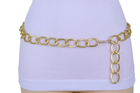 Women Bling Fashion Gold Metal Chain Textured Links Belt Hip High Waist Adjustable Size Band XS S M