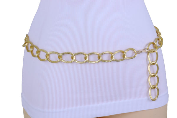 Women Western Gold Metal Chain Textured Link Street Wear Belt Hip Waist XS S M