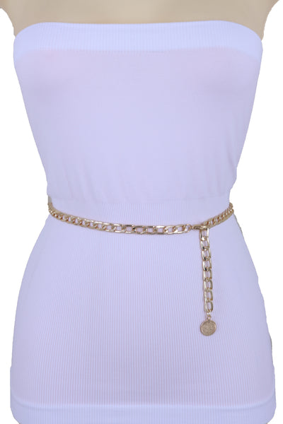Brand New Women Gold Metal Chain Skinny Ethnic Fashion Waist Hip Belt Coin Charm M L XL