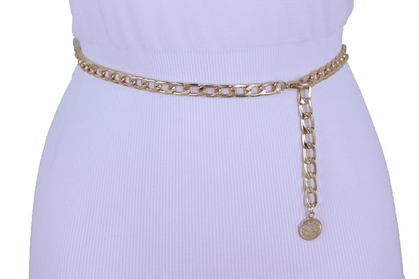 Women Gold Metal Chain Skinny Ethnic Fashion Waist Hip Belt Coin Charm Adjustable Band Fit Sizes M L XL