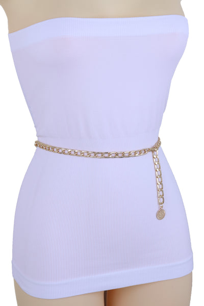 Brand New Women Gold Metal Chain Links Fashion Waist Hip Belt Coin Charm Plus Size XL XXL