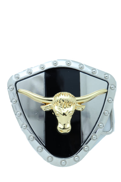 Brand New Men Silver Metal Western Belt Buckle Texas Lone Horn Cow Bling Gold Bull Shield