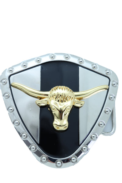 Men Silver Metal Western Belt Buckle Texas Lone Horn Cow Bling Gold Bull Shield