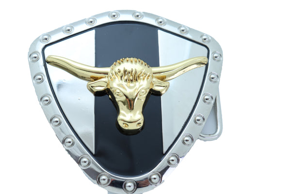 Brand New Men Women Silver Metal Western Belt Buckle Texas Lone Horn Cow Bling Gold Bull Shield