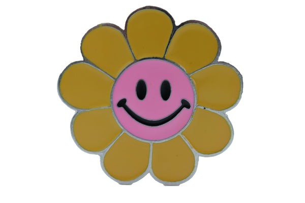 Brand New Unisex Belt Buckle Teens Women Retro Fashion Yellow Flower Emoji Cartoon Smile