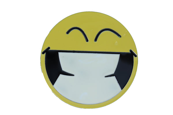 Men Women Belt Buckle Silver Metal Yellow Smiley Face Eyes Cute Fun Emoji Round One Size