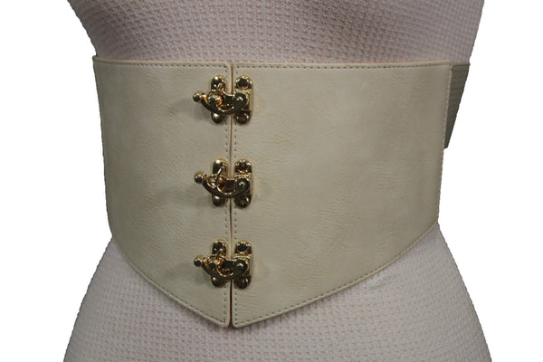 Cream Ivory Faux Leather High Waist Hip Wide Corset Belt 3 Gold Hooks Buckle New Women Fashion Accessories S M - alwaystyle4you - 9