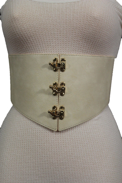 Cream Ivory Faux Leather High Waist Hip Wide Corset Belt 3 Gold Hooks Buckle New Women Fashion Accessories S M - alwaystyle4you - 11