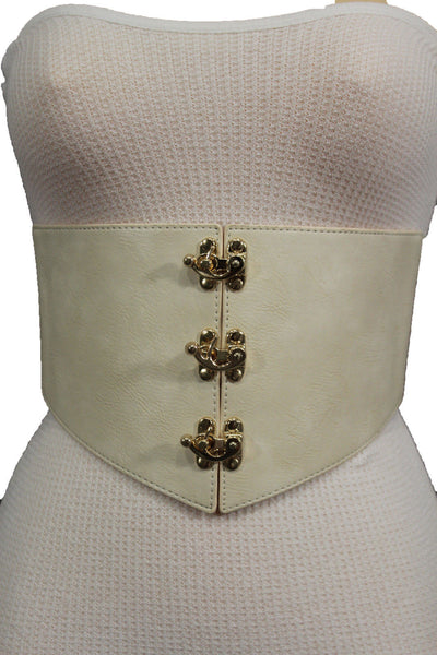 Cream Ivory Faux Leather High Waist Hip Wide Corset Belt 3 Gold Hooks Buckle New Women Fashion Accessories S M - alwaystyle4you - 2