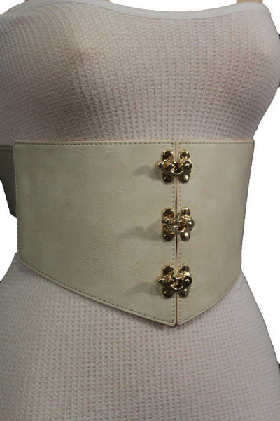 Cream Ivory Faux Leather High Waist Hip Wide Corset Belt 3 Gold Hooks Buckle New Women Fashion Accessories S M - alwaystyle4you - 4