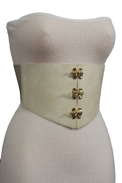 Cream Ivory Faux Leather High Waist Hip Wide Corset Belt 3 Gold Hooks Buckle New Women Fashion Accessories S M - alwaystyle4you - 1