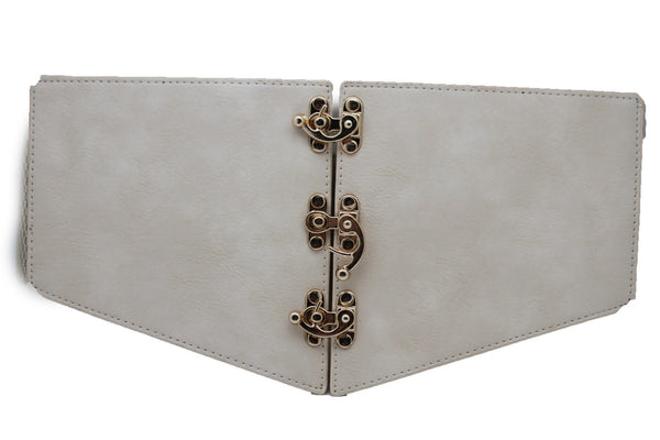 Cream Ivory Faux Leather High Waist Hip Wide Corset Belt 3 Gold Hooks Buckle New Women Fashion Accessories S M - alwaystyle4you - 5
