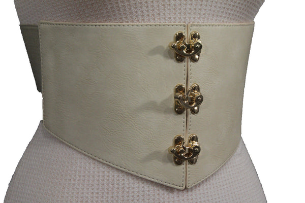 Cream Ivory Faux Leather High Waist Hip Wide Corset Belt 3 Gold Hooks Buckle New Women Fashion Accessories S M - alwaystyle4you - 6