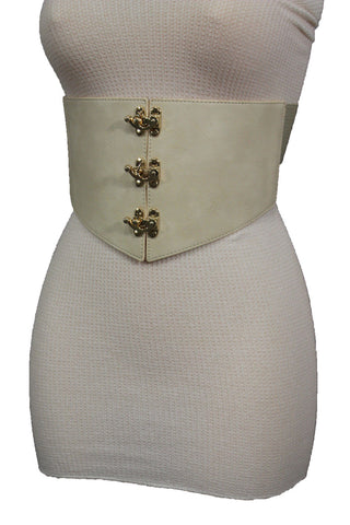 Cream Ivory Faux Leather High Waist Hip Wide Corset Belt 3 Gold Hooks Buckle New Women Fashion Accessories S M - alwaystyle4you - 7